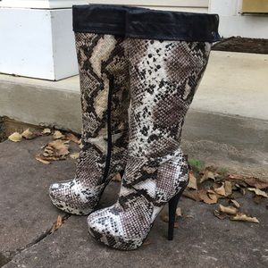 Faux Snakeskin Boots